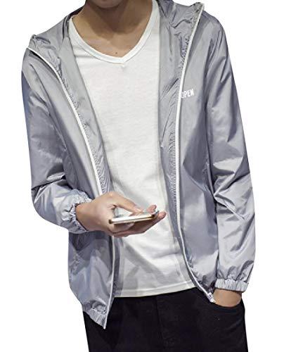 Signature Jacket Grey Windproof Casual Light Rain Howme Hood Slim with Men qw6nvYt