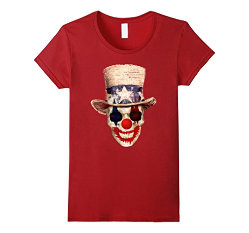 Womens Uncle Sam Clown Skeleton Skull T-Shirt Small Cranberry