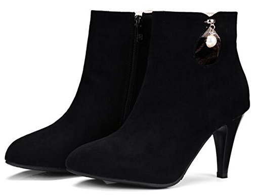 IDIFU Womens Elegant Pointed Toe High Stiletto Heels Faux Suede Ankle Boots With Pendant Black 6283Wx