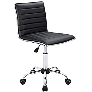 Furmax Mid Back Task Chair,Low Back Leather Swivel Office Chair,Computer Desk Chair Retro with Armless Ribbed
