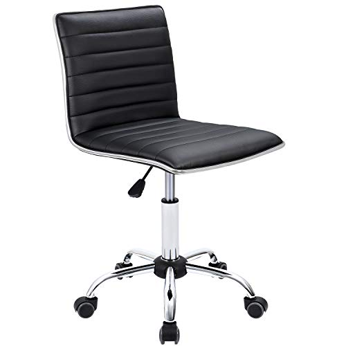Furmax Mid Back Task Chair,Low Back Leather Swivel Office Desk Chair,Computer Chair with Armless Ribbed Soft Upholstery (Black)
