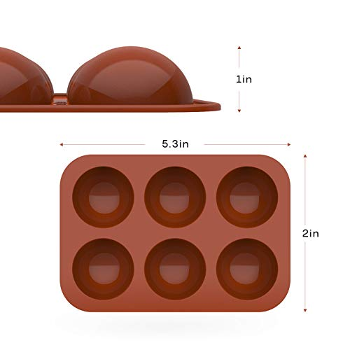 2Pack 6 Holes Chocolate Making Silicone Mold, Round Shape Silicone Mold, For Cake, Jelly, Pudding, Hot Chocolate Bomb