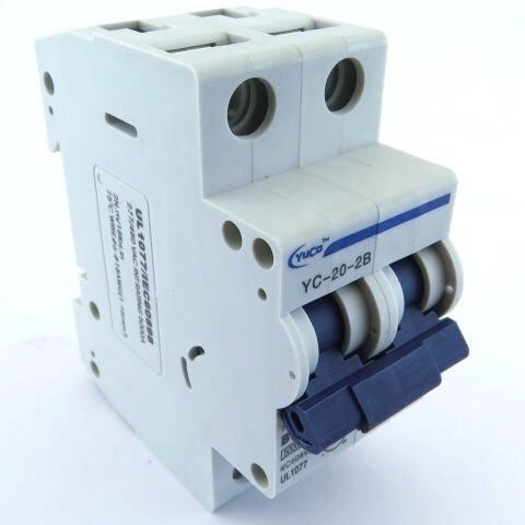 YC-20-2B YuCo DIN RAIL MINIATURE CIRCUIT BREAKER 2P 20A B CURVE 277/480V 50/60Hz TUV UL 1077 EUROPEAN DESIGN CSA (20a 2p Circuit Breaker)