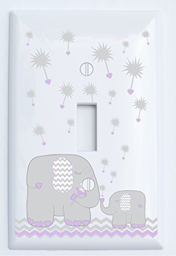 Single Toggle Purple and Grey Dandelion Elephant Light Switch Plates Covers / Elephant Nursery Decor (Purple Dandelion Elephant)