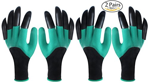 2 Pairs Garden Digging Gloves,Aonesy Garden Genie Gloves with Claws on Both Hands for Easy Planting Pruning Weeding Seeding Poking As Seen On TV