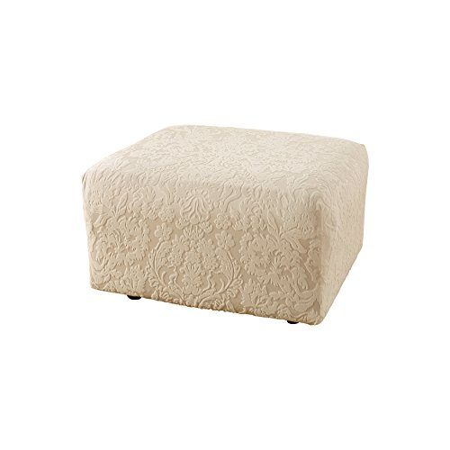Sure Fit Stretch Jacquard Damask - Ottoman Slipcover  - Oyster (SF40149)