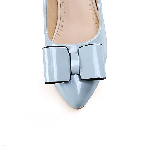 VogueZone009 Women's Solid PU Kitten-Heels Pointed Closed Toe Pull-On Pumps-Shoes Blue jN9KBcG