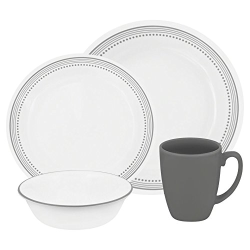 Safe Cups Saucers Oven (Corelle Livingware 16-Piece Dinnerware Set, Mystic Gray, Service for 4)