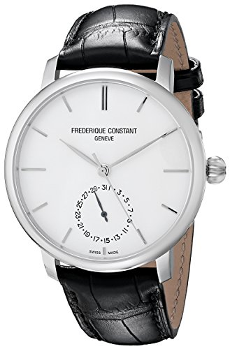 Frederique Constant Men's FC710S4S6 Slim Line Analog Display Swiss Automatic Black Watch