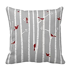 1RHshopstor Birds in Birch Trees Red White Grey 1741 Merry Christmas Custom Zippered Square Pillowcase 18 X 18 inches