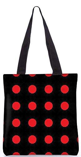 """Snoogg Rote Flecken Schwarzes Muster-Einkaufstasche 13,5 X 15 In """"Einkaufstasche Dienstprogramm Trage Aus Polyester Leinwand"""