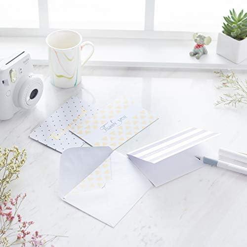 Amazon Basics Thank You Cards, Polka Dot and Stripe, 48 Cards and Envelopes