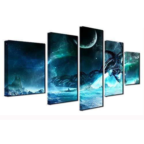 RENHAN Multi Panel Wall Pictures - 5pcs HD Wall Art Inkjet Paintings - Cartoon Characters Wall Decorative Paintings - Canvas Painting Wall Art,B,40x60x2+40x80x2+40x100x1
