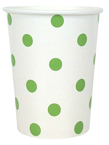 Just Artifacts Party Paper Cups - (12pcs) Green Apple Polka Dot - Paper Decorations for Birthday Parties, Weddings, Baby Showers, and Life (10 Ounce Green Apple)