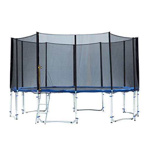 Exacme 16' 6W Legs Trampoline with Safety Pad & Enclosure Net & Ladder All-in-One Combo Set, T16