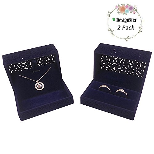 DesignSter Velvet Ring Box & Necklace Box Set - Hollow Royal Blue Jewelry Gift Storage Display Box for Wedding, Engagement Gift Favor ()