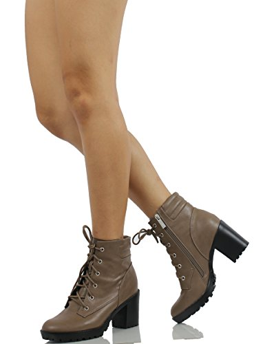 Breckelles Womens Ranger21 Faux Leather Lace Up Combat Chunky Heel Ankle Boot Beige tRUQG5Oq