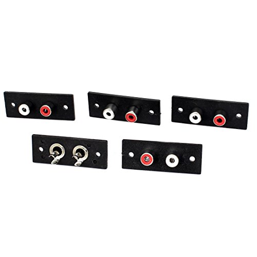Panel Mounting 2 RCA Female Outlet AV Concentric Socket Connector 5pcs