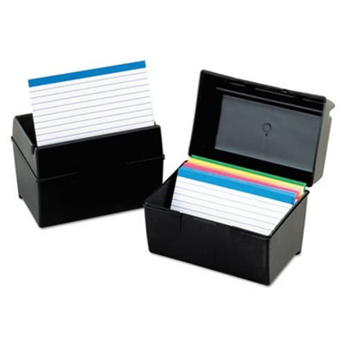 Oxford. Plastic Index Card Flip Top File Box Holds 500 5 x 8 Cards, Matte Black (1581)