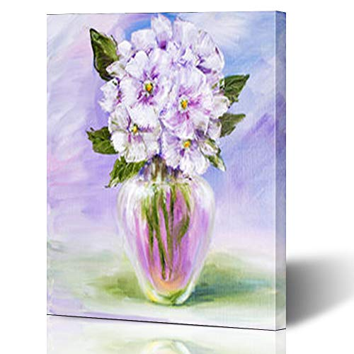 """Krezy Decor Canvas Print Wall Art 16""""x16"""" Green Tender Blue Flowers Vase in Arts Nature Art Spring Stretched Artwork Painting Home Decor Living Room Office"""