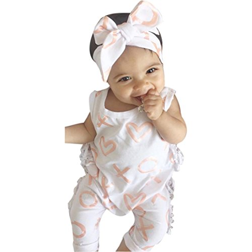 (2Pcs Outfit Set Newborn Toddler Baby Girl Boy Print Sleeveless Romper Jumpsuit Sunsuit Clothes (White, 0-6)