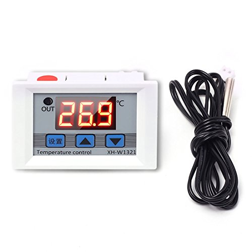 WHDTS Digital Temperature Controller Switch Module 12V DC -50℃ to +110℃ Micro Digital Thermostat Board with 1M Waterproof Sensor ()