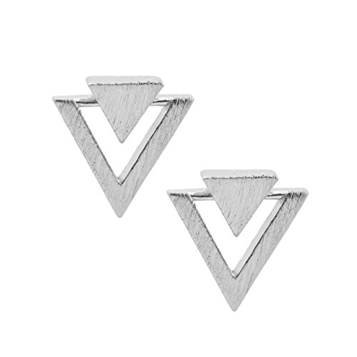 chelseachicNYC Handcrafted Brushed Metal Two Triangle Stud Earrings (Double Triangle Earrings)