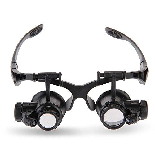 ELENKER 10x 15x 20x 25x Lupenbrille mit LED Licht