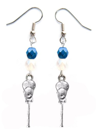 ''Lacrosse Stick & Ball'' Lacrosse Earrings (Team Colors Navy Blue & White) by Edge Sports