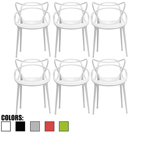 2xhome - Set of 6 White Dining Room Chairs - Modern Contemporary Designer Designed Popular Home Office Work Indoor Outdoor Armchair Living Family Room Kitchen ()
