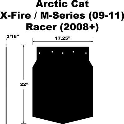 Proven Design SF-209MSPB Snowmobile Mud Flap Arctic Cat M-Series/X-Fire 2009-2011 Plain Black Snow Flap