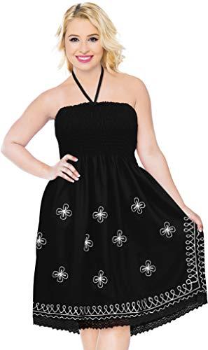 LA LEELA Rayon Solid Printed Beachwear Caftan Nightgowns Black 2060 One Size ()
