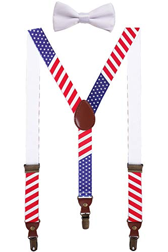 BODY STRENTH Adults Suspenders and Bow Tie Set Y Shape Adjustable for Wedding 47'' American Flag