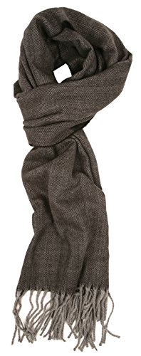 Love Lakeside-Men's Cashmere Feel Winter Plaid Scarf Dark Grey Herringbone