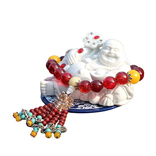 - V-look 2Pcs Maitreya Car Decoration Small Happy Buddha Statue Resin Beautiful Exquisite Fine Workmanship Bring Good Luck and Wealth White and Brown