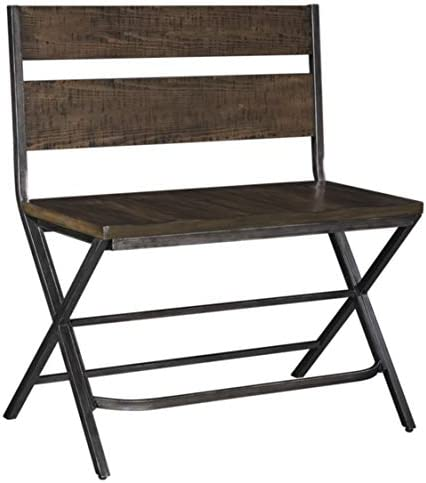 Signature Design By Ashley – Kavara Counter Double Barstool – Distressed Finish – Dark Metallic Metal
