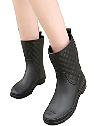 Womens Black Mid Calf Rain Boots Outdoor Work Waterproof...