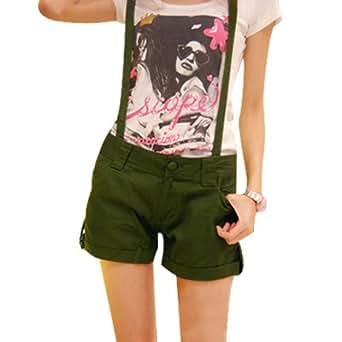 Ladies Fly Zipper Button Closure Slant Pockets Suspender Shorts