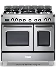Verona VCLFSGE365DSS 36 Classic Dual Fuel Range with 2.4 cu. ft. & 1.5 cu. ft. Ovens in Stainless Steel