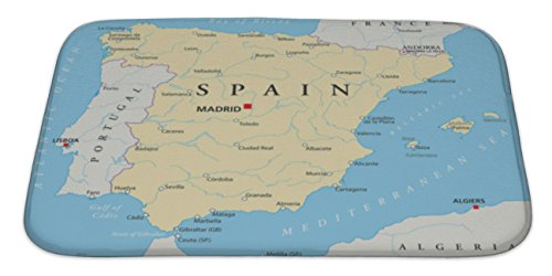 Gear New Spain Map Bath Rug Mat No Slip Microfiber Memory Foam by Gear New