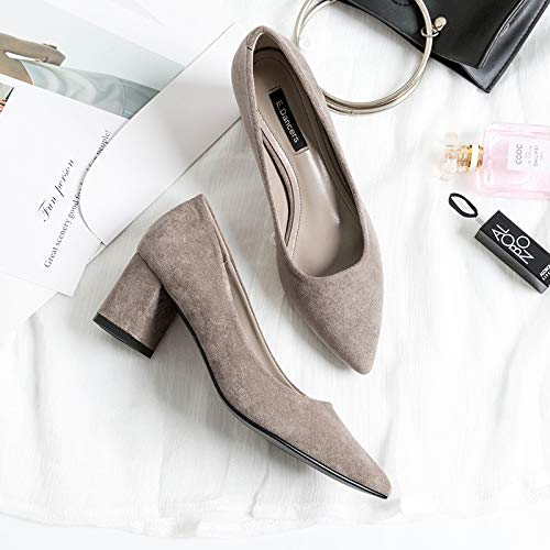 Professional High With Black High High Fashion Black Women heels Thick Heels Autumn Shoes Women'S Yukun Pu Shoes Pointed Heeled Atqx886w