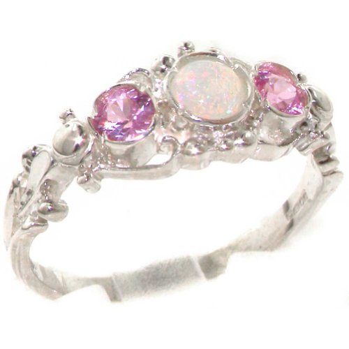 925 Sterling Silver Natural Opal and Pink Tourmaline Vintage Anniversary Ring - Size - Tourmaline Gemstone Ring
