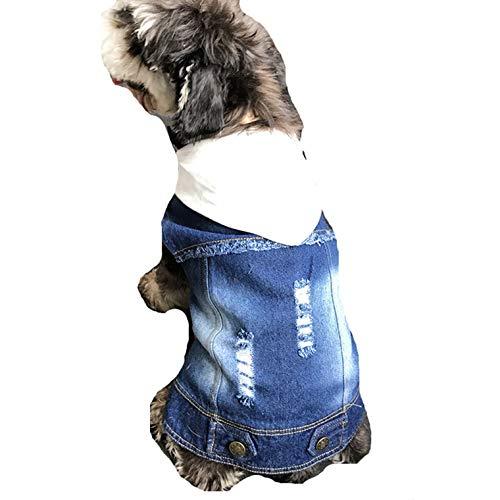 SENERY Winter Pet Dog Clothing Coat,Dog French Bulldog Denim Jacket Jeans Hooded Vest for Pug Cat Pet Costume
