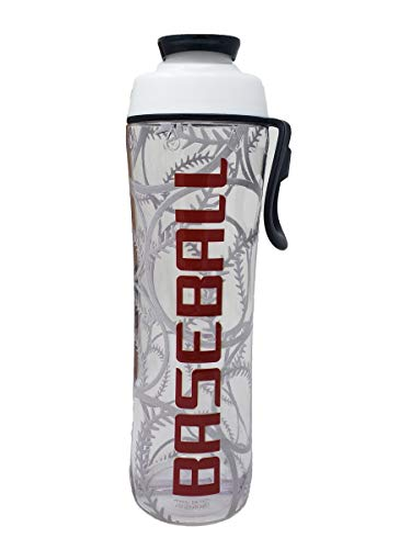 50 Strong 24 oz Sports Water Bottle with Basketball, Football, Baseball, Soccer, Tennis and Hockey Designs - Perfect Bottles for Boys, Girls, Sport Team, Players, and Coaches - Made in USA (Baseball)
