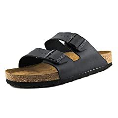 Men's Birkenstock, Arizona - R fit - Birko Flor upper. A traditional slide sandal with two adjustable straps.Birko-Flor upper is a skin-friendly, tear resistant faux leather material with soft fleece on lower layer Classic suede-lined cork an...