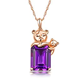 Rose Gold Natural Purple Amethyst Pendant Necklace
