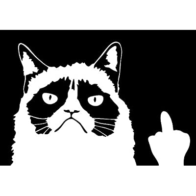Keen Grumpy Cat Meme Flippin\' You Off Funny Decal | 6 X 4 in | White: Automotive [5Bkhe0113802]
