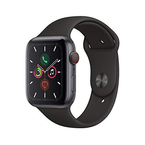 Apple Watch Series 5 (GPS + Cellular, 44 mm) Aluminio en Gris espacial – Correa Deportiva Negro
