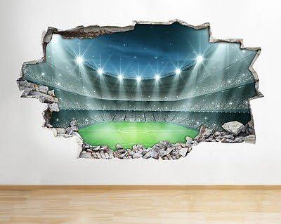 Garçons Chambre D/'Enfant Z74 Stade de Football Autocollant Mural 3D Look