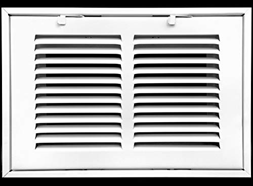 "10"" X 6 Steel Return Air Filter Grille for 1"" Filter - Removable Face/Door - HVAC Duct Cover - Flat Stamped Face - White [Outer Dimensions: 12.5 X 7.75]"